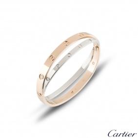 Cartier Love Rose & White Gold Diamond Bracelet Size 16 N6039116